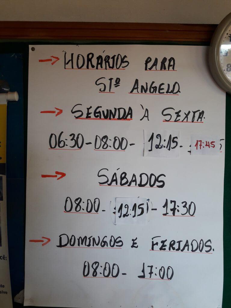 A tabela de horários de São Miguel para Santo Ângelo