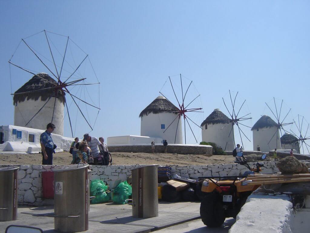 Os famosos moinhos de Mykonos