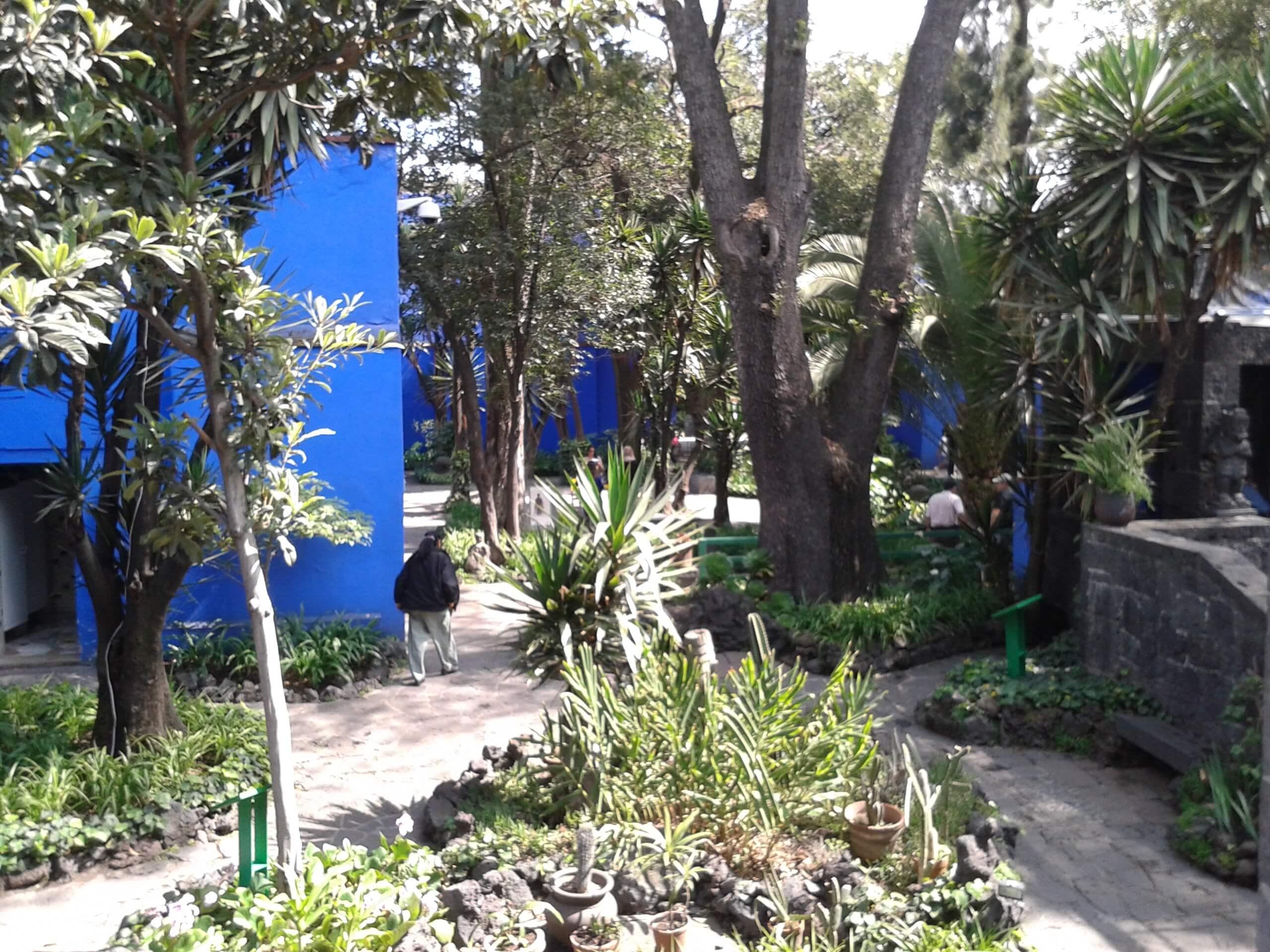 O contraste do jardim com o azul do Museu Frida Kahlo