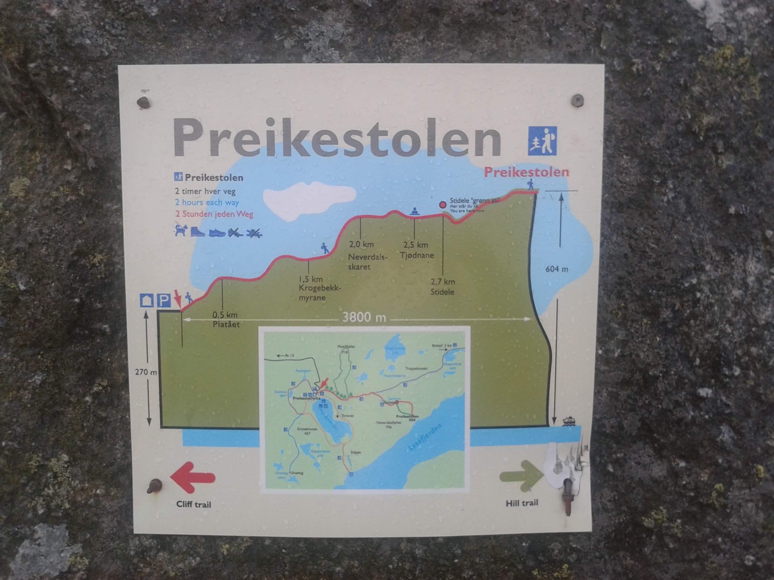 Mapa da Trilha Preikestolen