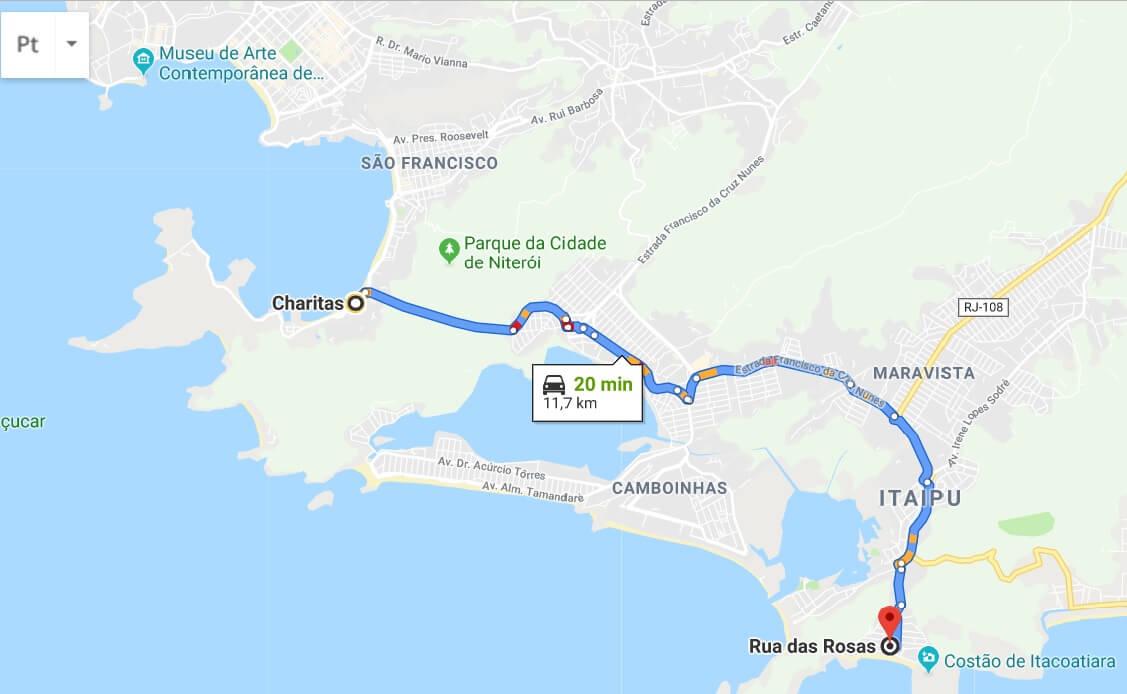 Mapa para início da trilha ao Costão de Itacoatiara
